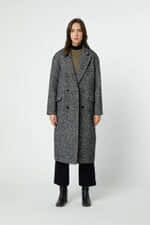 Coat 2891 Black Herringbone 1
