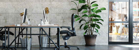 Desks in industrial coworking space