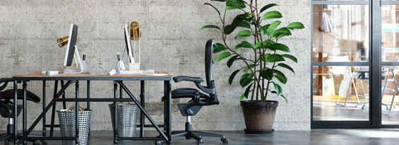 Desks in industrial coworking space