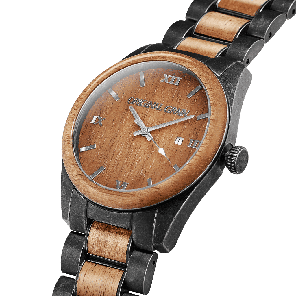 Koa Stonewashed Steel Classic 43mm by Original Grain
