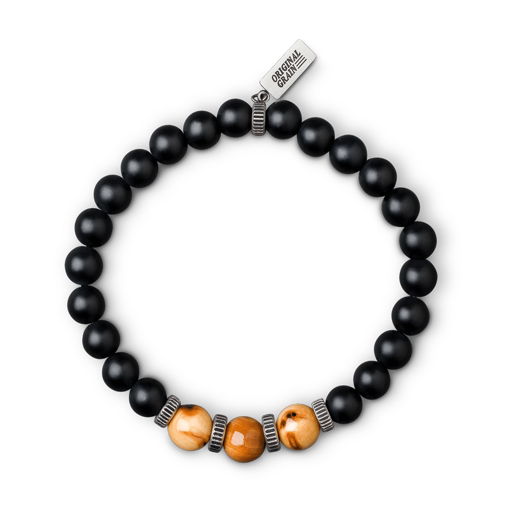 Burlwood Black Onyx Crown Bracelet 8mm