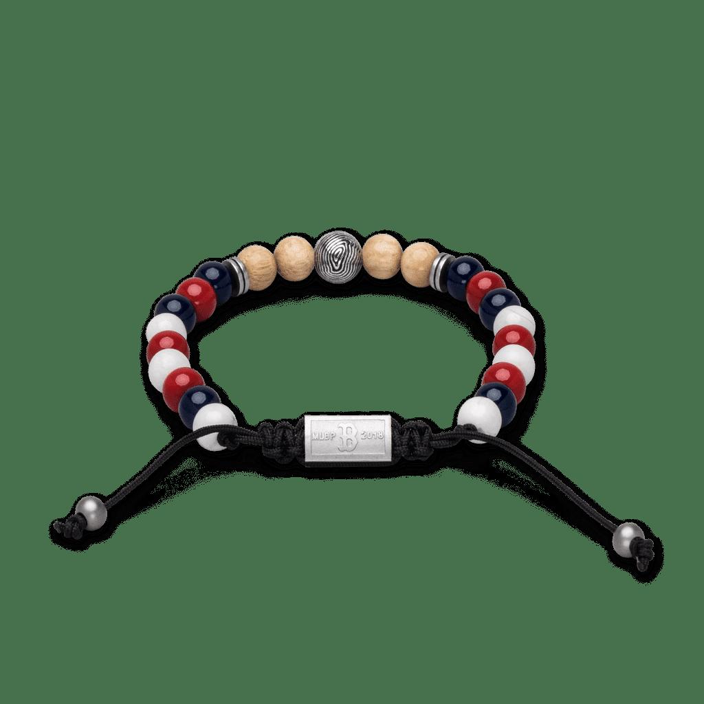 Back of Boston Red Sox Round Macrame Bracelet 8mm by Original Grain