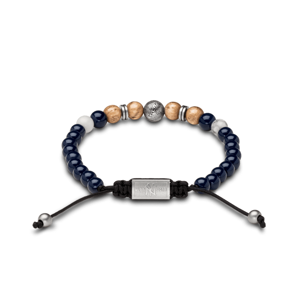 Back of New York Yankees Steel Macrame Bracelet 8mm by Original Grain