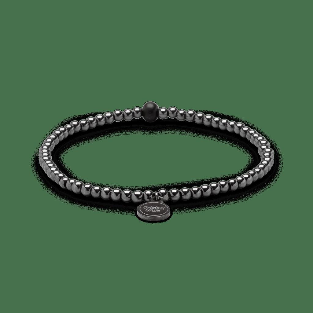 Ebony Hematite Womens Charm Bracelet 3mm