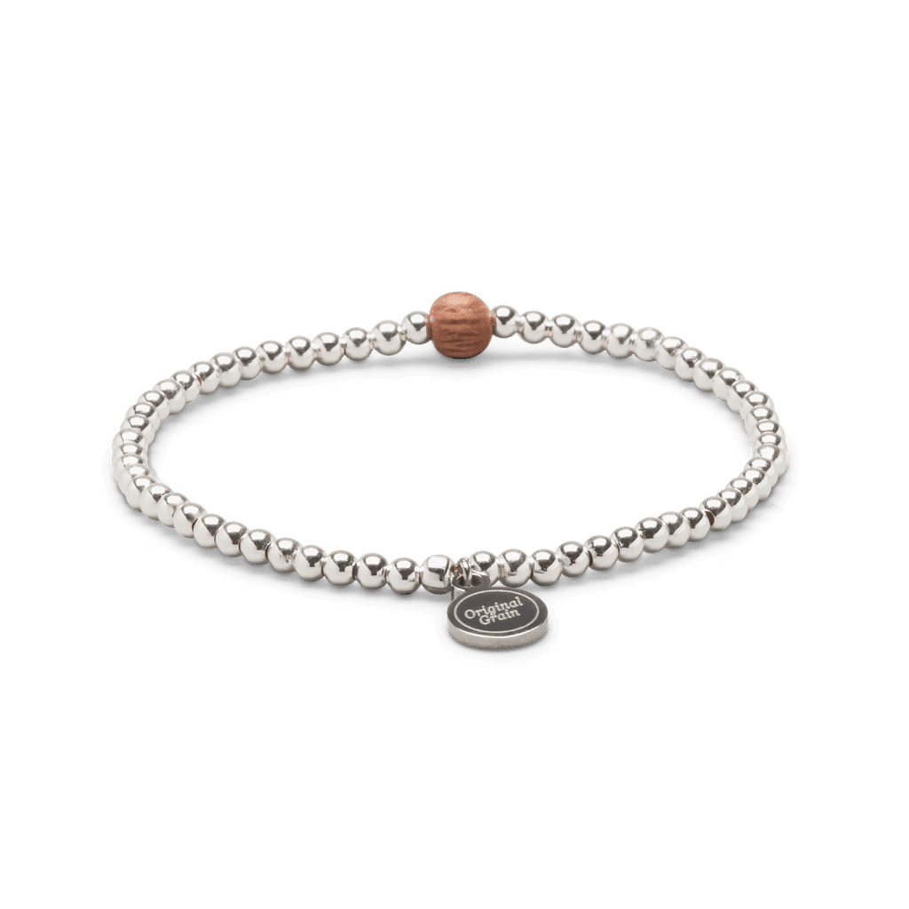Rosewood Silver Womens Charm Bracelet 3mm