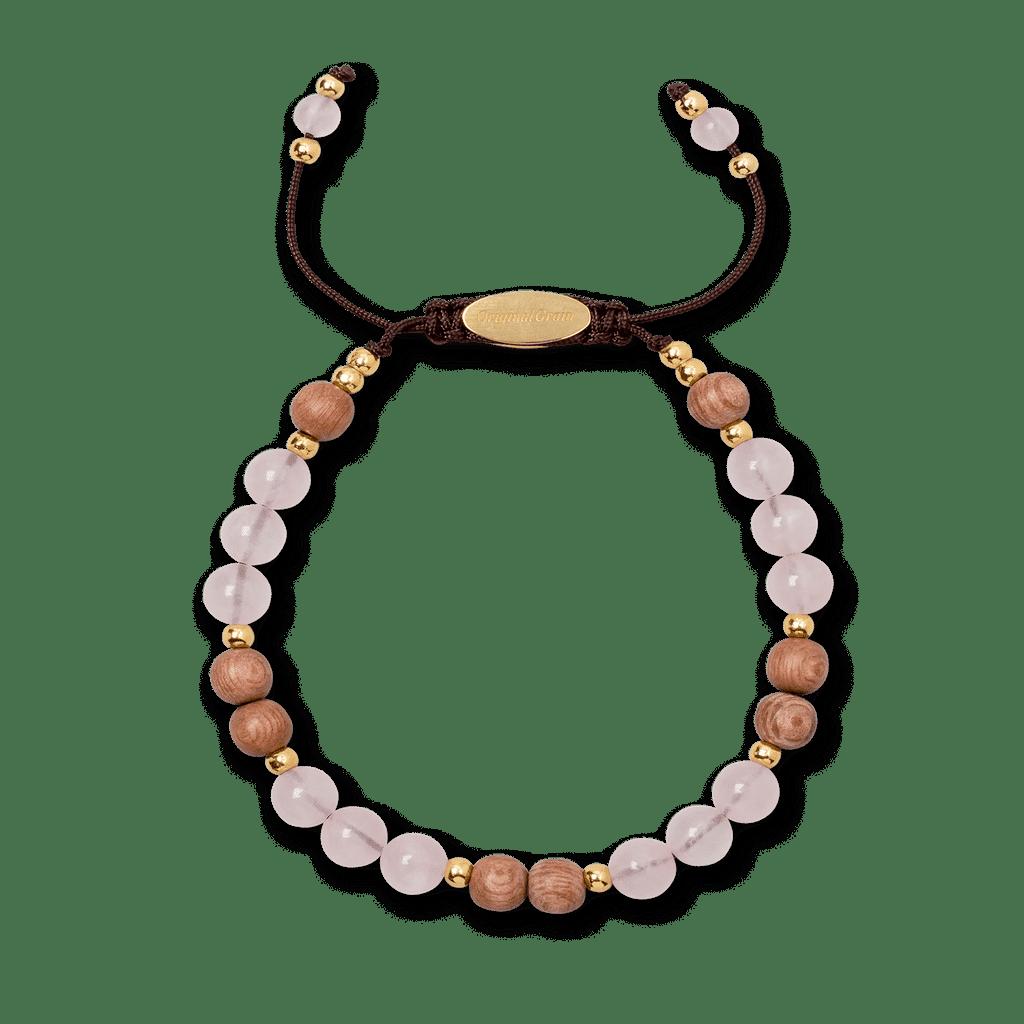 Rosewood Quartz Womens Macrame Bracelet 6mm