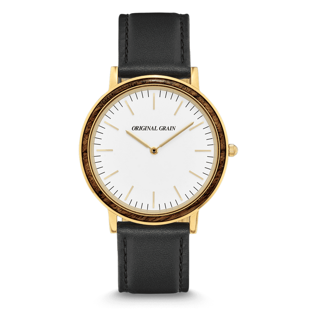 Ebony Gold Minimalist with White Dial 40mm