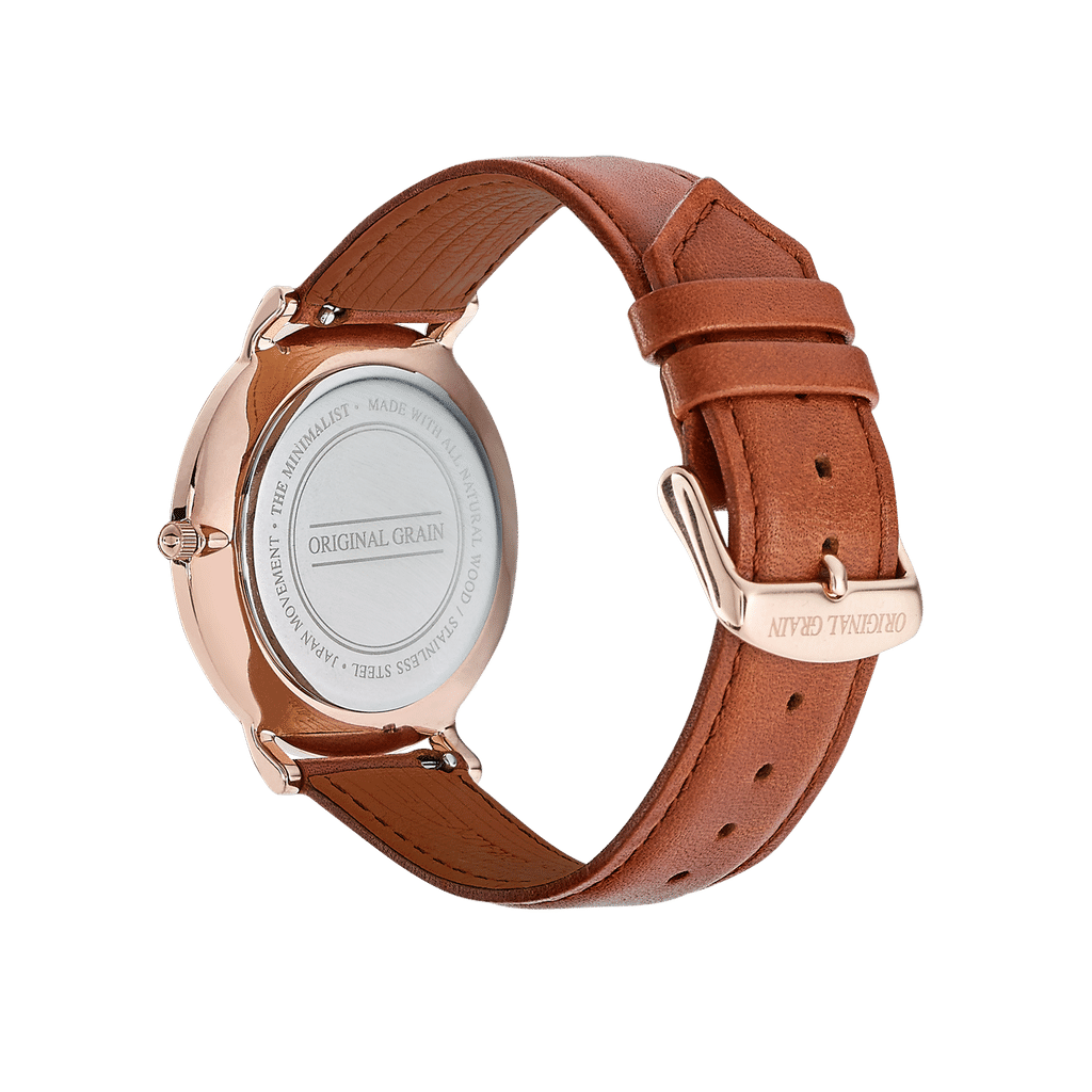 Zebrawood Rosegold Minimalist 40mm by Original Grain Leather Band Strap