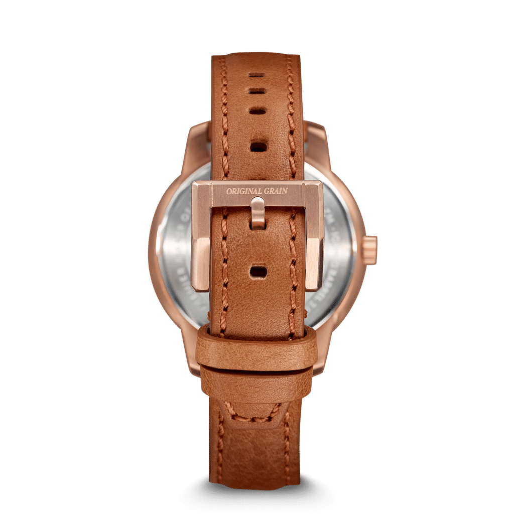 Whiskey Rose Gold Womens Barrel Leather 36mm