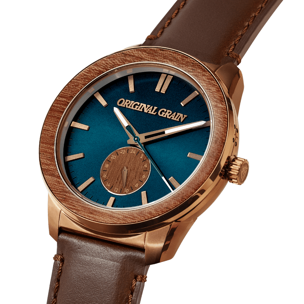 Sapele Bronze Barrel Leather 46mm