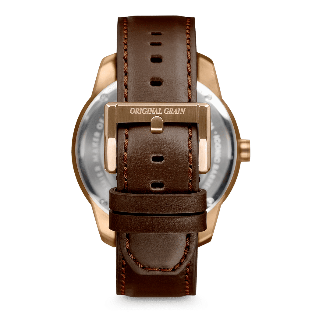 Sapele Bronze Barrel Leather 46mm