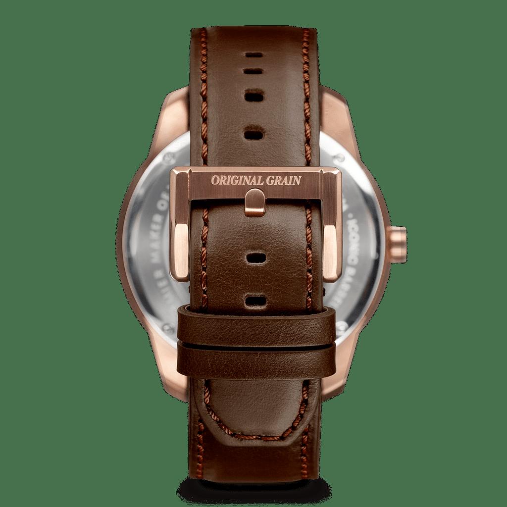 Sapele Rose Gold Barrel Leather 46mm