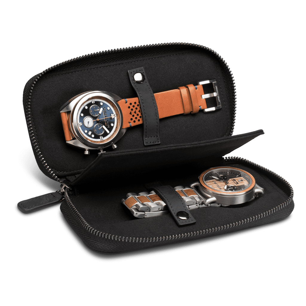 Black Leather Watch Case