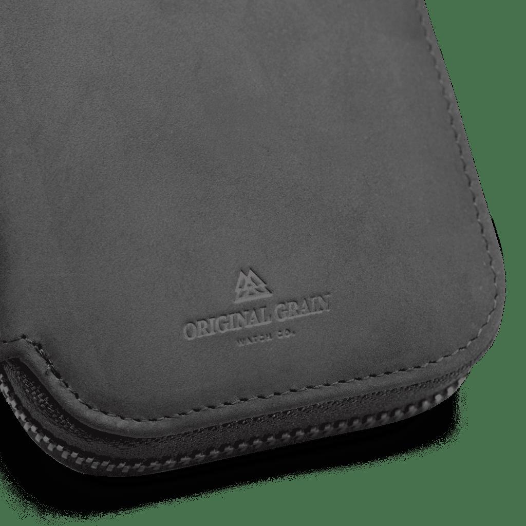 Original Grain Logo on Black Leather Watch Case