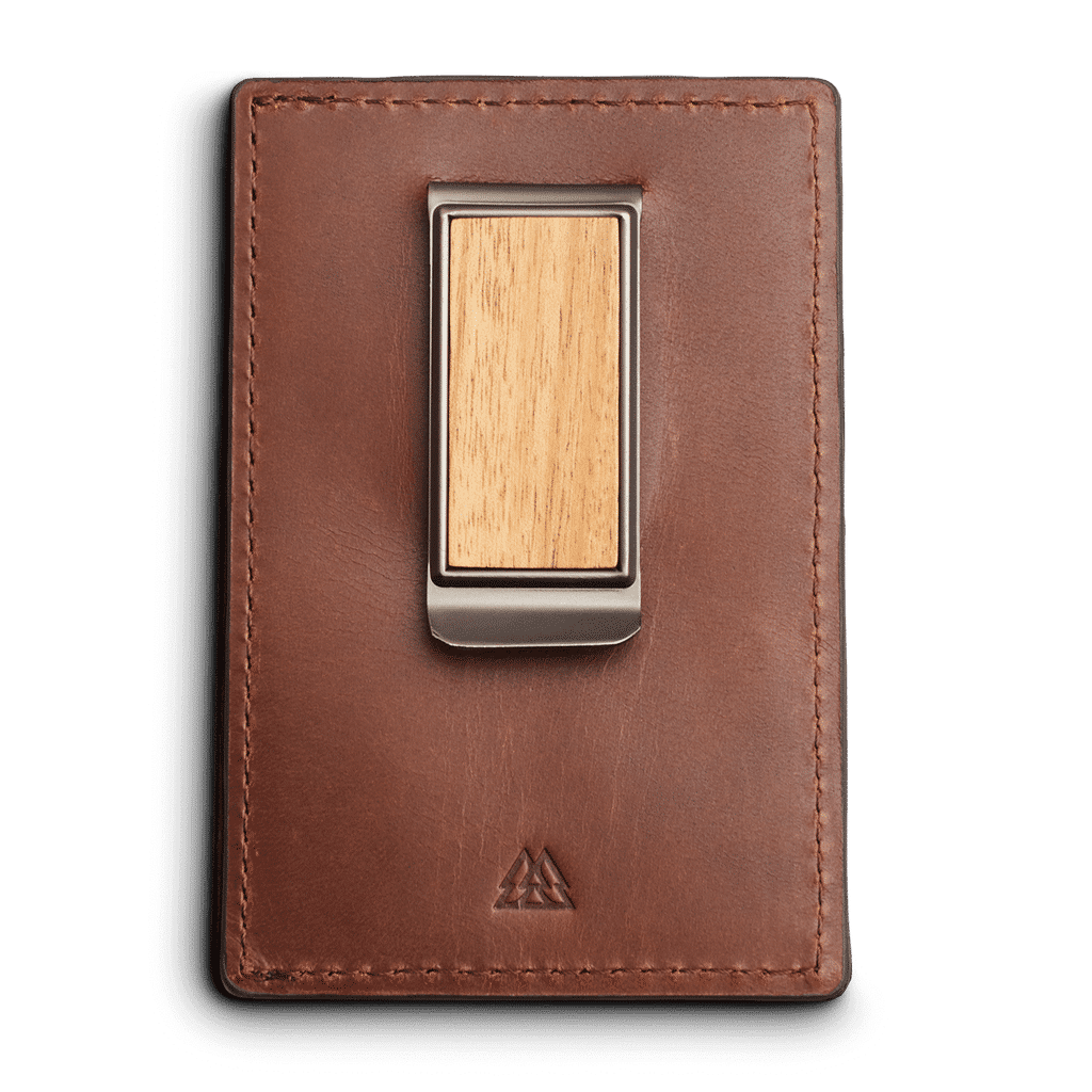 Back of Brown Leather Wallet  with Wood Clip by Original Grain