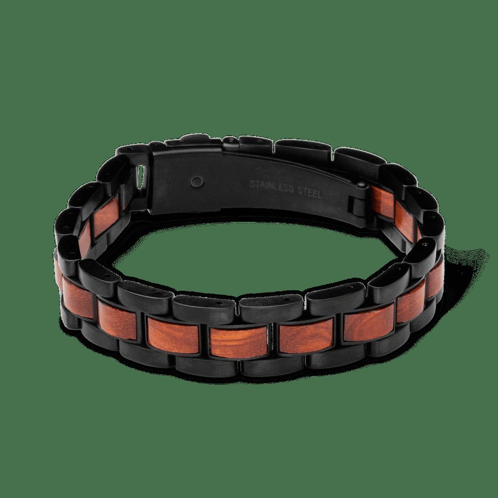 Rosewood Black Mens Moto Bracelet 12mm