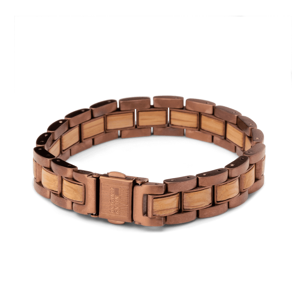 Whiskey Espresso Mens Moto Bracelet 12mm