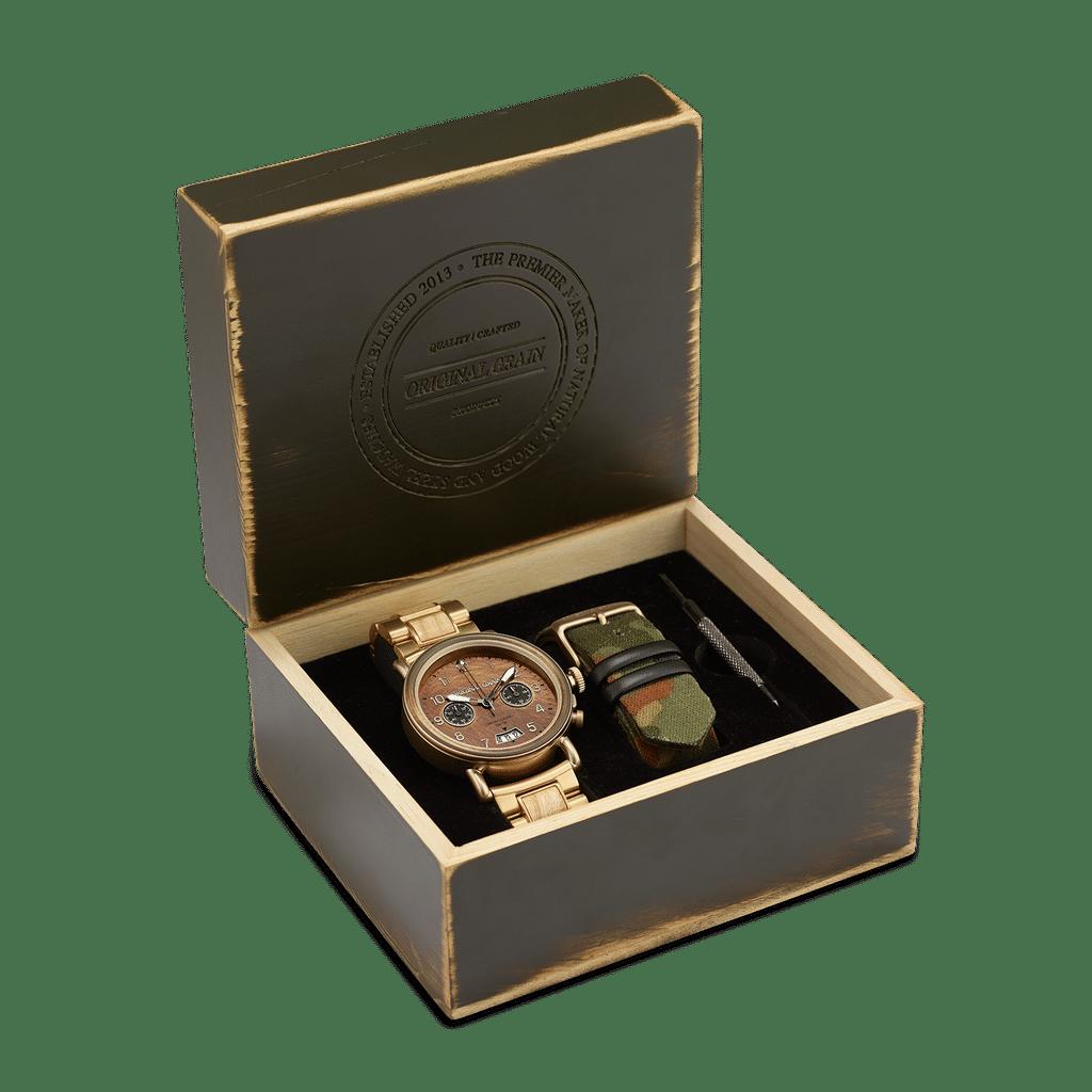 General Antique Brass Military Chrono Set 44mm