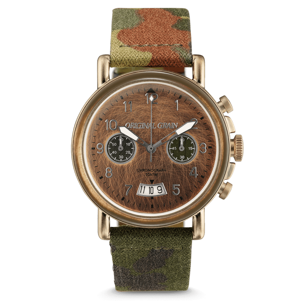General Antique Brass Military Chrono Set 44mm by Original Grain  Reclaimed Strap