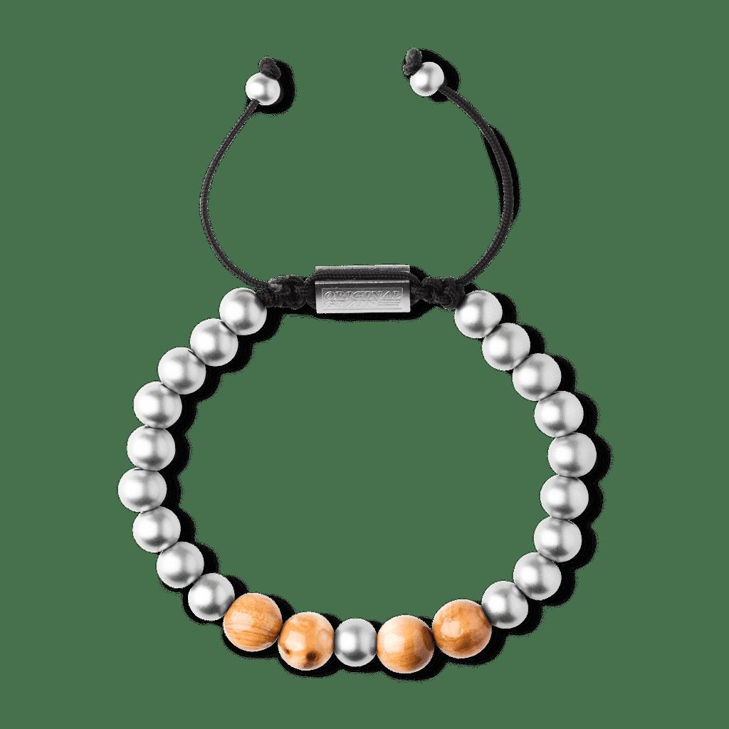 Burlwood Steel Macrame Bracelet 8mm by Original Grain
