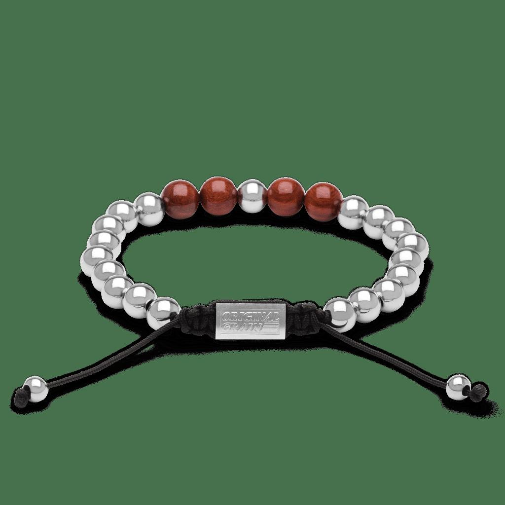 Rosewood Chrome Macrame Bracelet 8mm by Original Grain