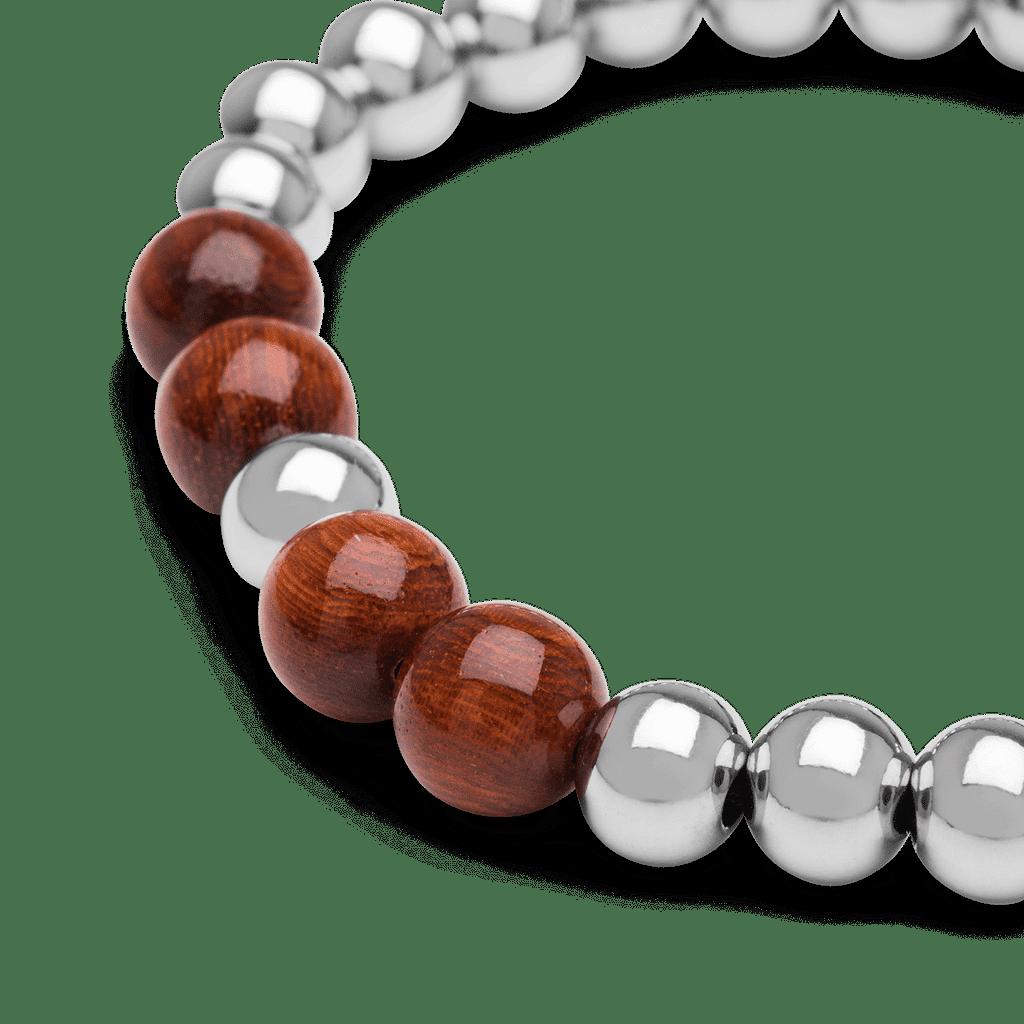 Rosewood Chrome Macrame Bracelet 8mm