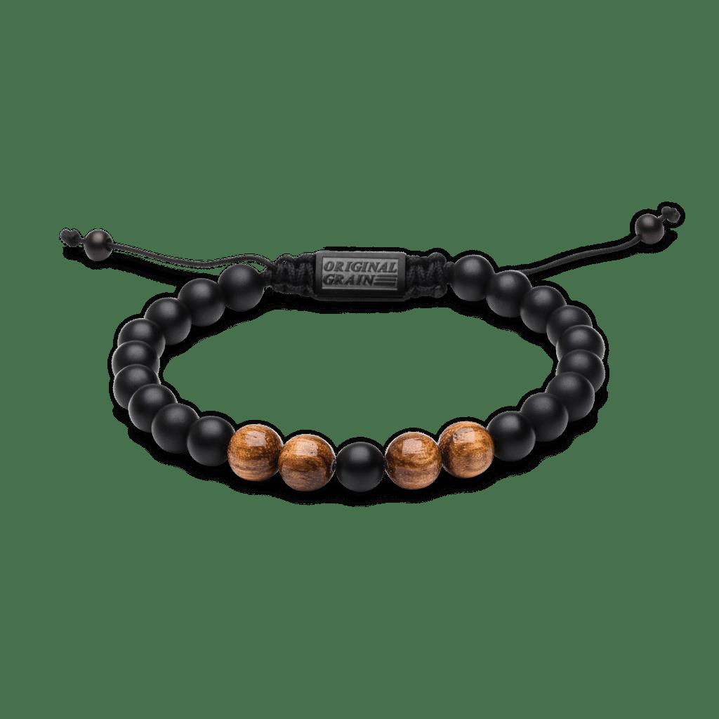 Zebrawood Black Onyx Macrame Bracelet 8mm by Original Grain