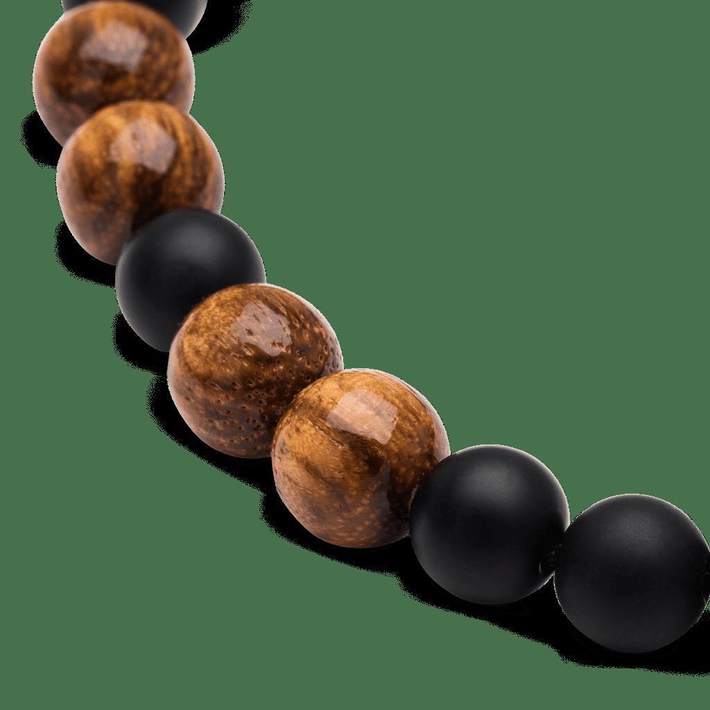 Zebrawood Black Onyx Macrame Bracelet 8mm