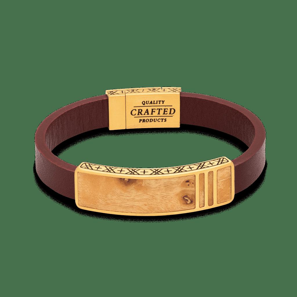 Burlwood Gold Leather Pendant Bracelet 10mm