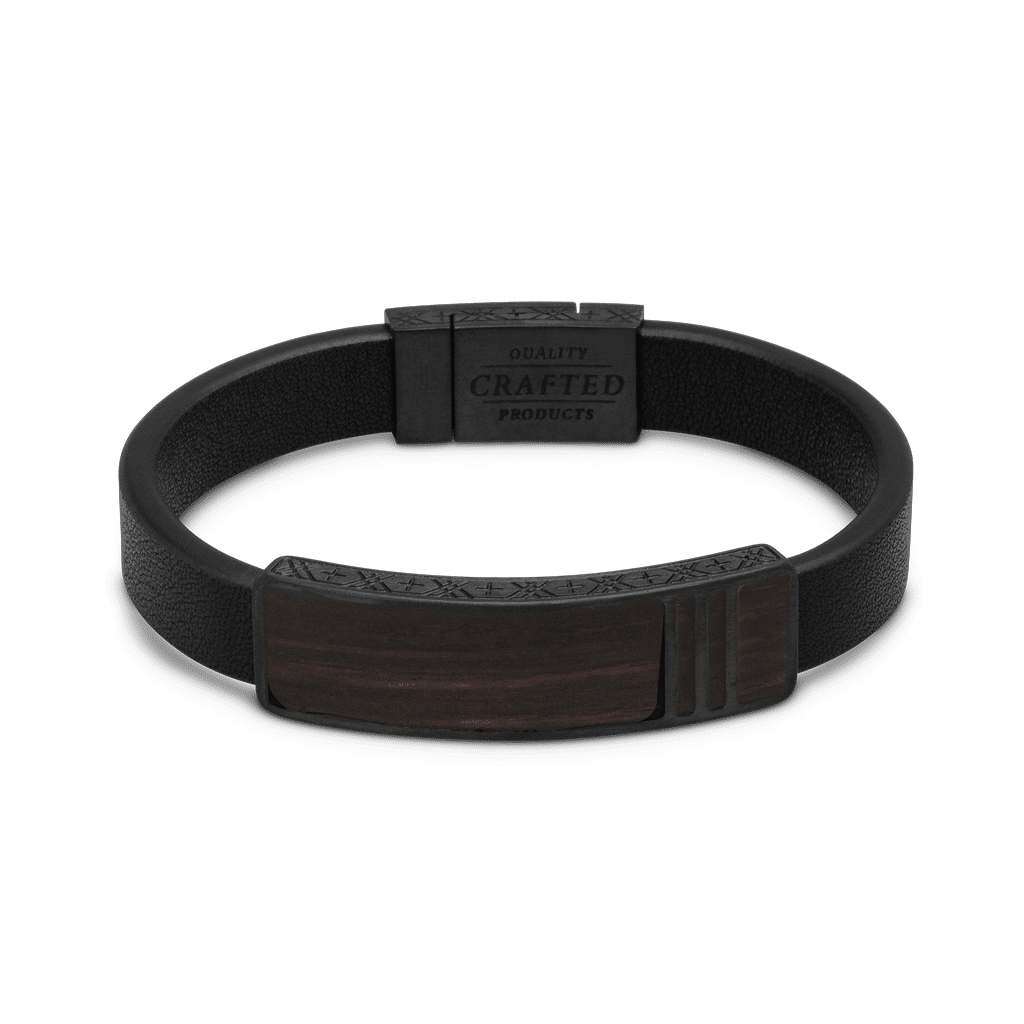 Ebony Black Leather Pendant Bracelet 10mm