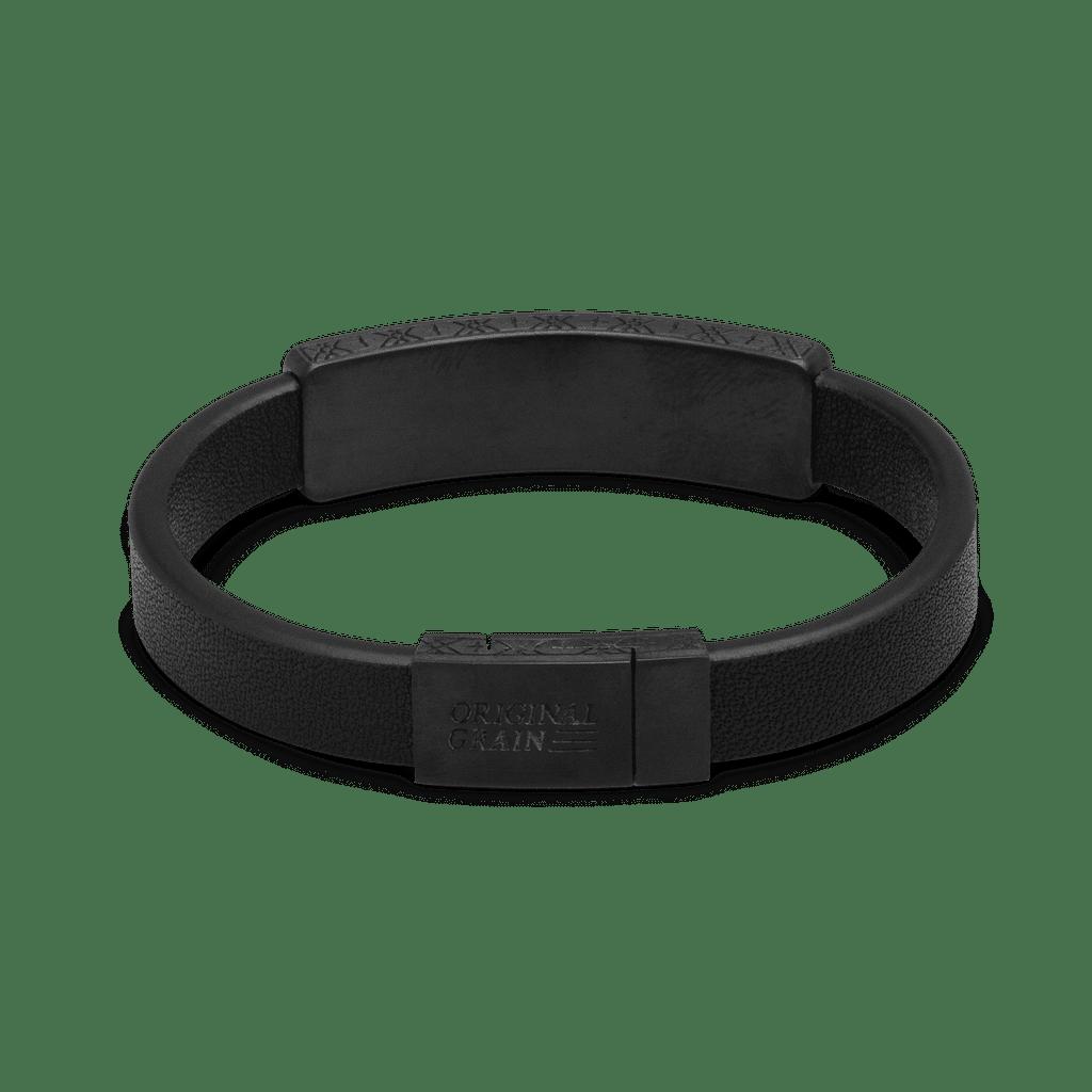 Ebony Black Leather Pendant Bracelet 10mm