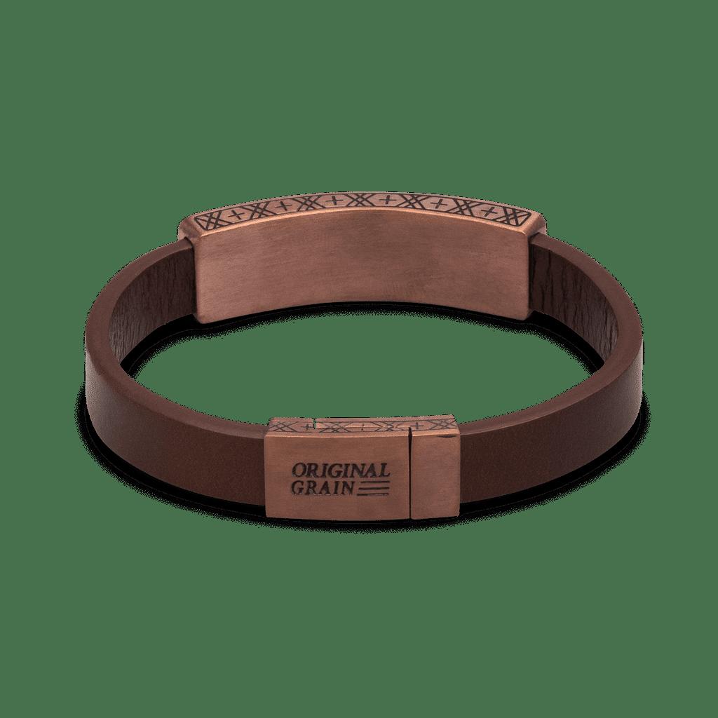 Whiskey Espresso Leather Pendant Bracelet 10mm