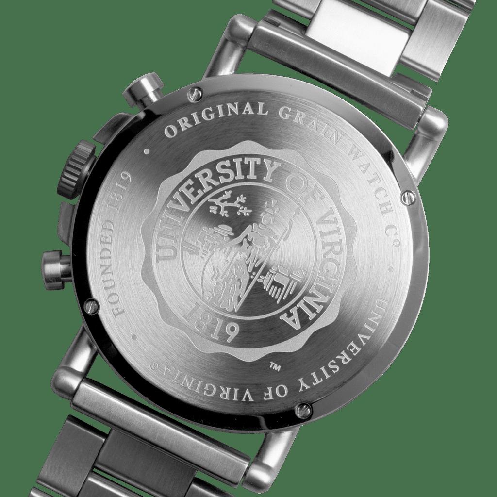 University of Virginia Chrono Set 44mm by Original Grain University Logo on Back of Watch