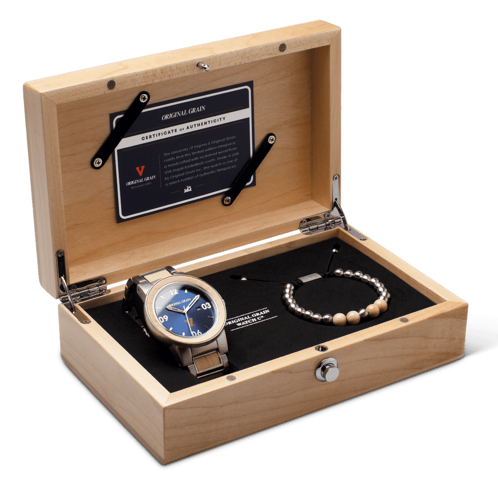 University of Virginia Chrono Set 44mm by Original Grain with Certificate of Authenticity and Matching Bracelet