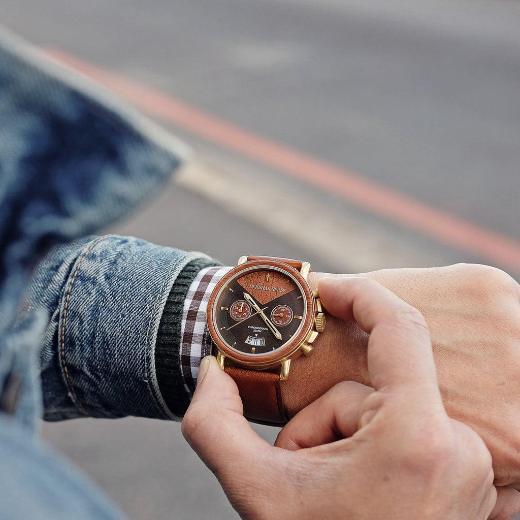 Cognac Chrono 44mm by Original Grain