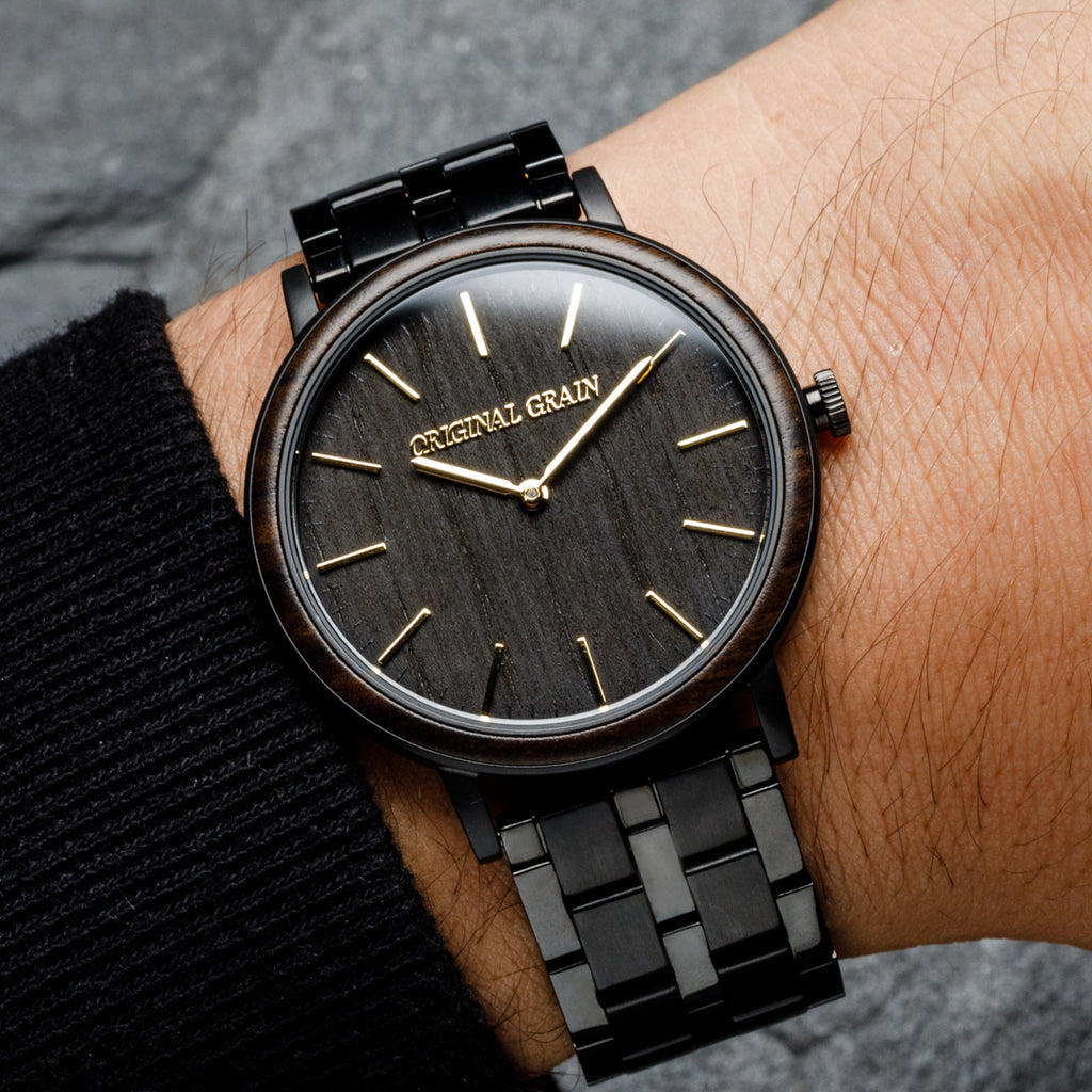 Ebony Gold Steel Minimalist 40mm