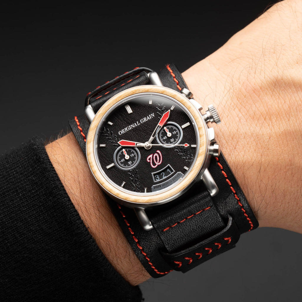 Nationals 2019 Rawlings World Series Chrono 44mm by Original Grain Leather Cuff on Man's Wrist