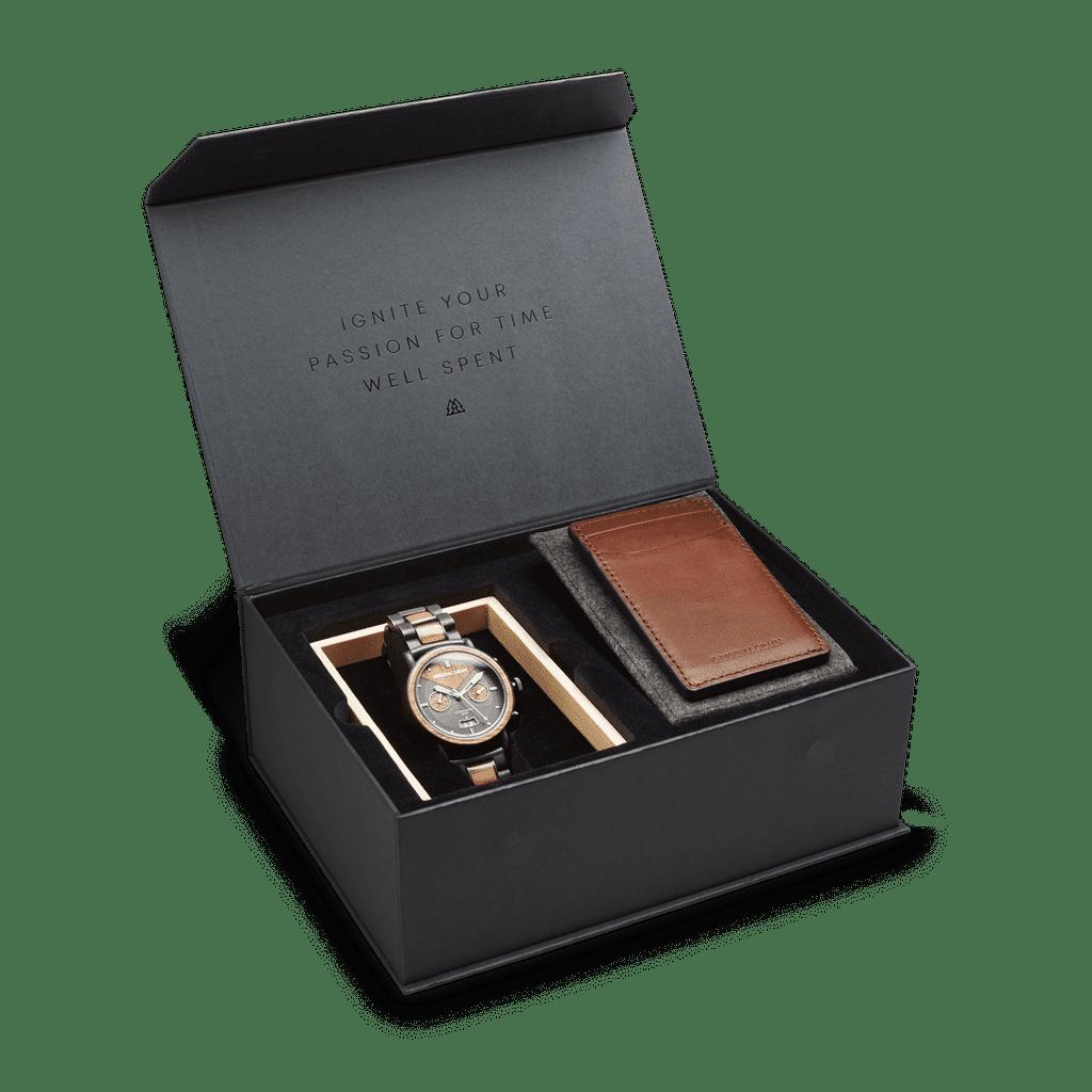 Koa Stonewashed Chrono 44mm Black Gift Box