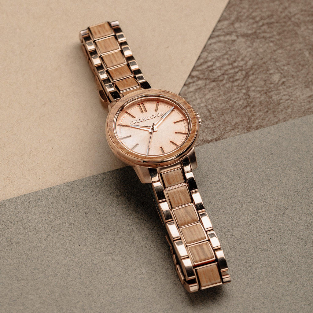 Whiskey Rose Gold Womens Barrel 36mm