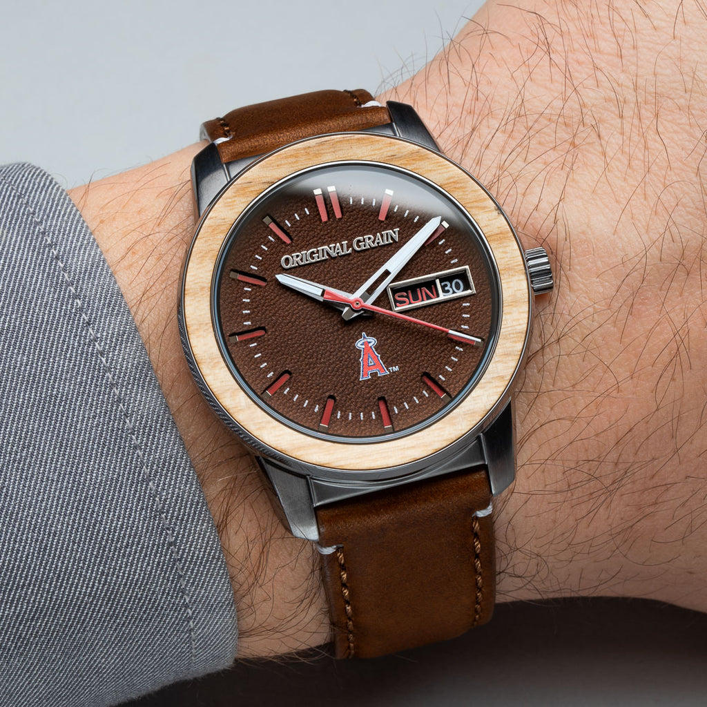 Anaheim Angels MLB Reclaimed 42mm - Leather Dial