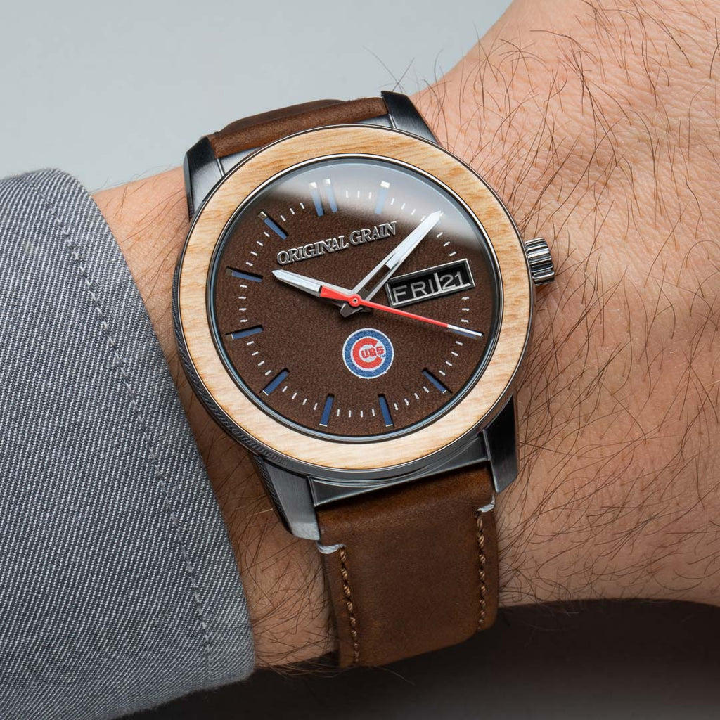 Chicago Cubs MLB Reclaimed 42mm - Leather Dial