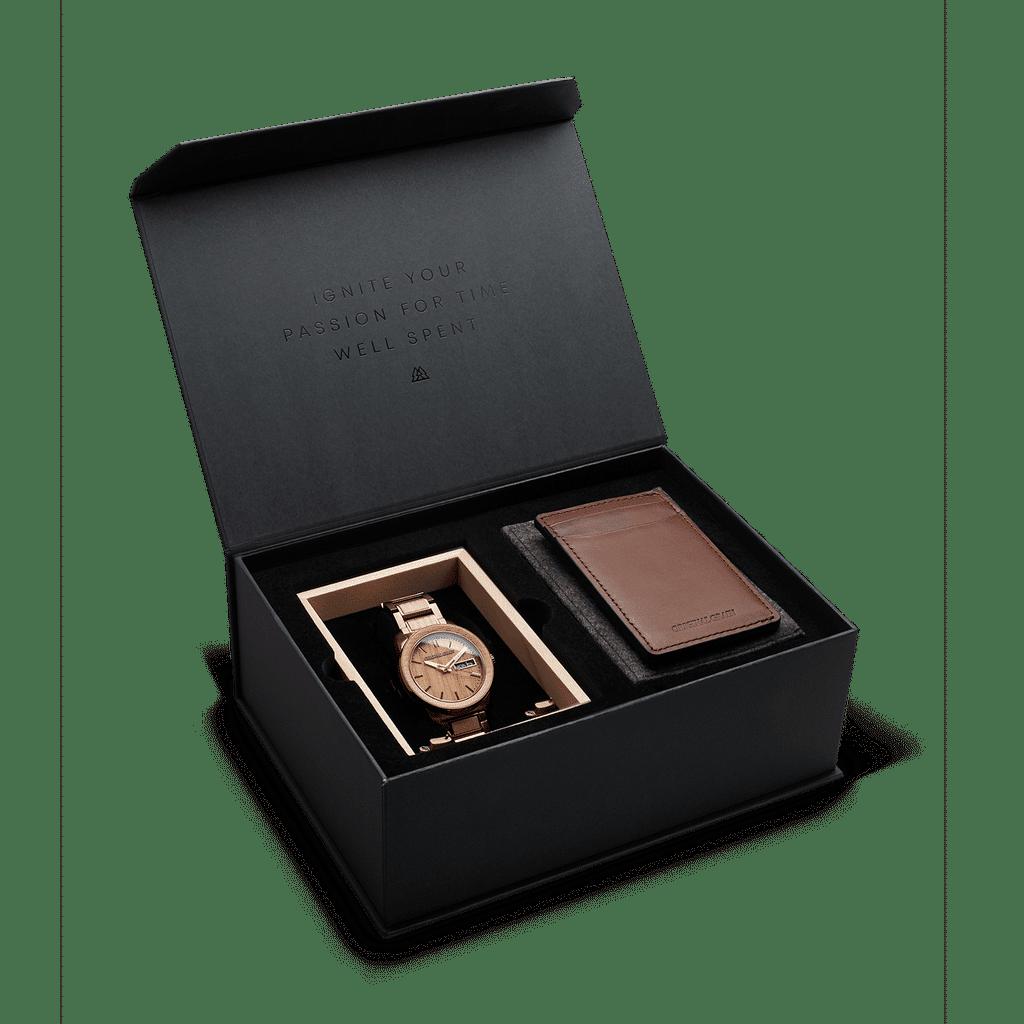 Whiskey Espresso Barrel 42mm Black Gift Box + Brown Leather Wallet by Original Grain