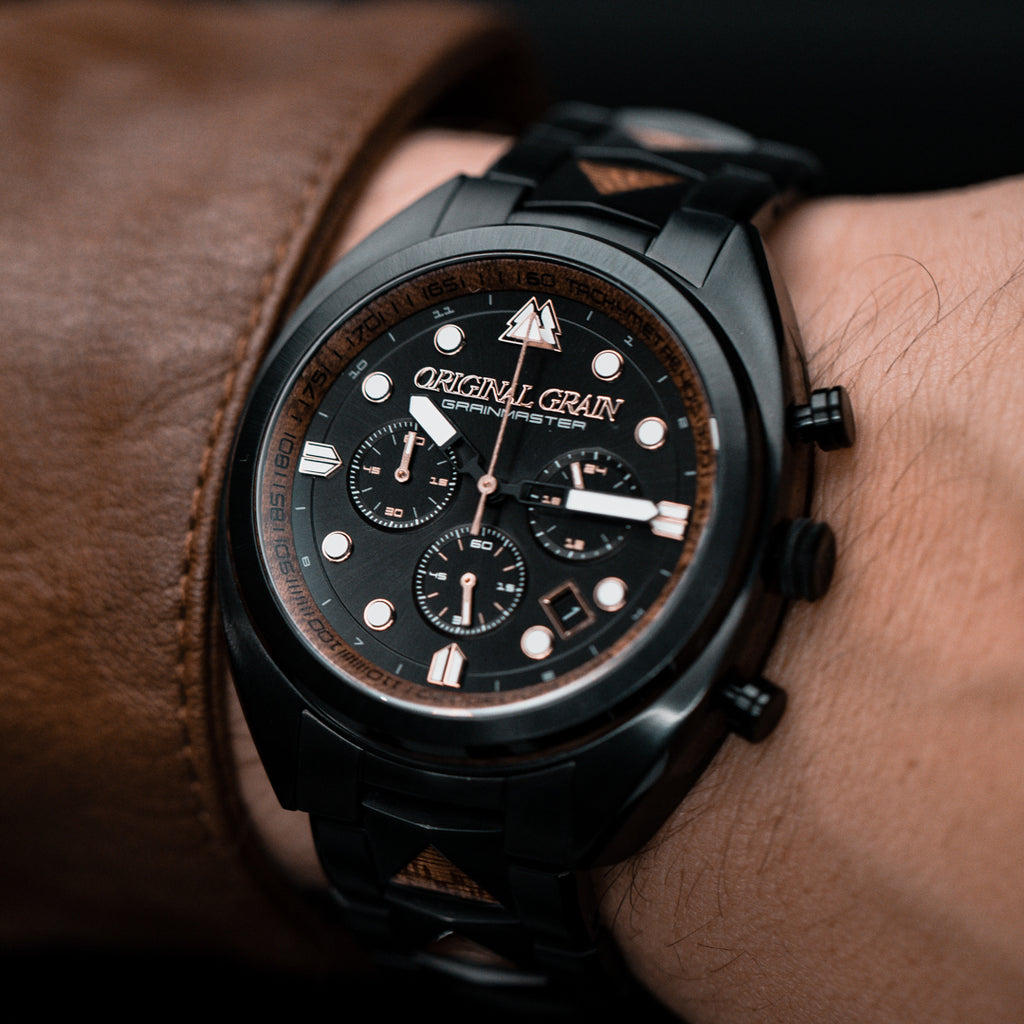Sapele Black Grainmaster Chrono 45mm