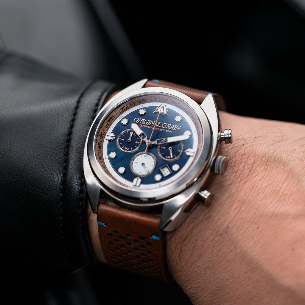 Mahogany Silver Grainmaster Chrono Leather 45mm