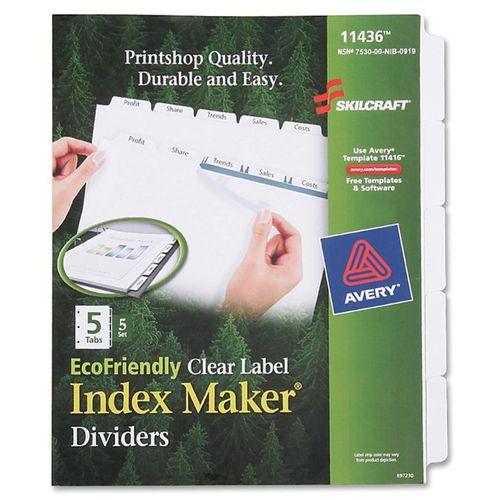 SKILCRAFT 5-tab Index Maker Dividers - 5 Print-on Tab(s) - 8