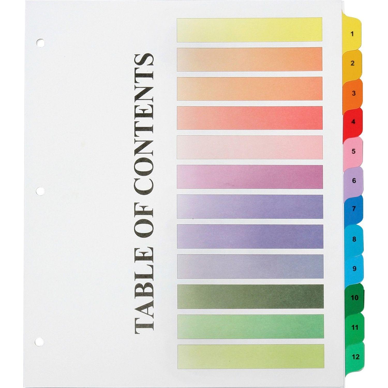 image regarding Printable Divider Tabs titled SKILCRAFT 3HP Printable Desk of Contents Sheets - 12 x