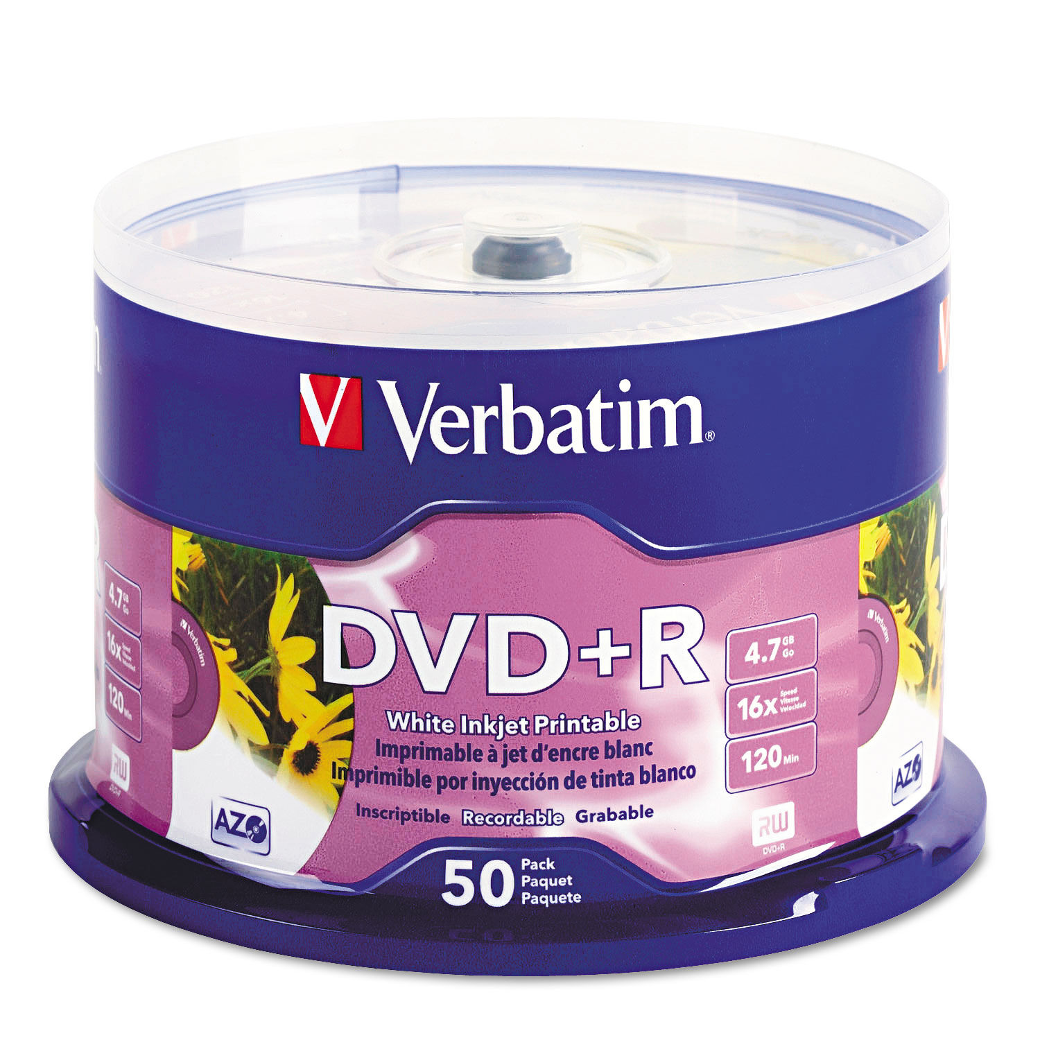 graphic about Printable Dvd Discs titled Inkjet Printable DVD+R Discs, White, 50/Pack