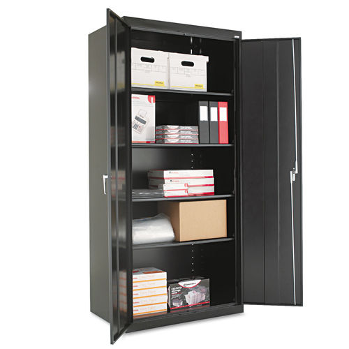 Embled 78 High Storage Cabinet W Adjule Shelves 36w X 24d Black
