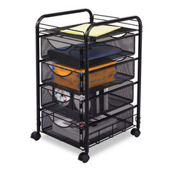 Safco® Onyx™ Mesh Mobile File with Four Supply Drawers Thumbnail