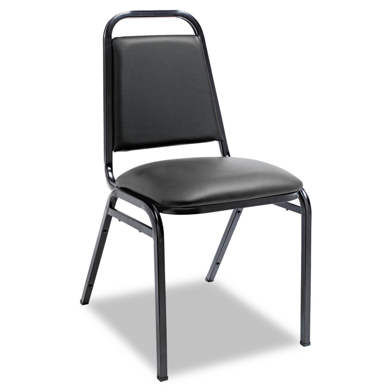 Padded Steel Stacking Chair Black Seat Black Back Black Base 4 Carton